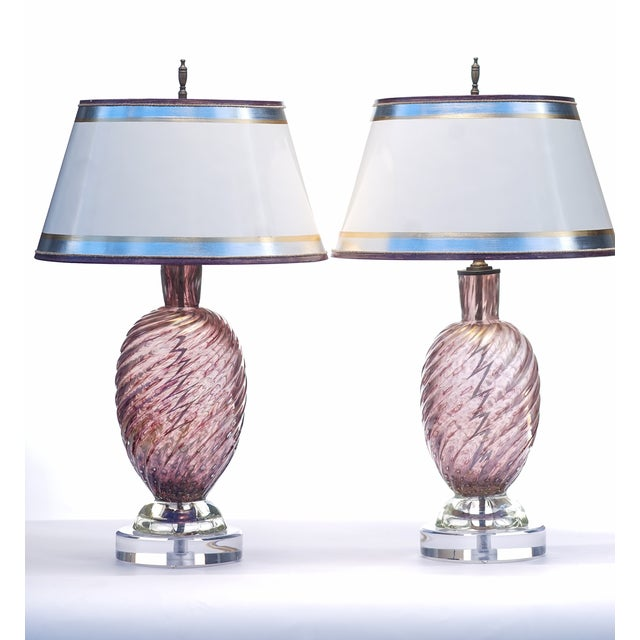 Mid-Century Modern Vintage Purple Murano Lamps - a Pair For Sale - Image 3 of 3