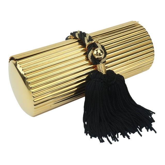 Walborg Gold Metal Cylinder Handbag With Black Tassel Closure For Sale
