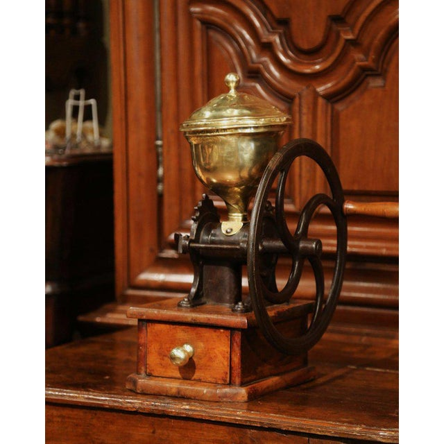 Large 19th Century French Walnut Iron and Brass Coffee Grinder For Sale - Image 11 of 11