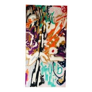 """Graffiti Metropolis"" Oil on Kevlar Sailcloth 96x48 For Sale"
