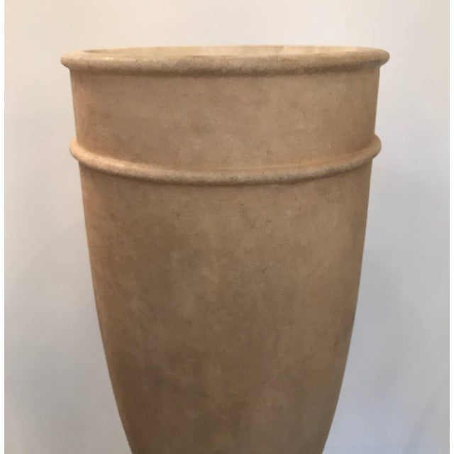 Striking tall table lamp with urn form textured alabaster shade. When lit this lamp gives a warm illumination to the stone...
