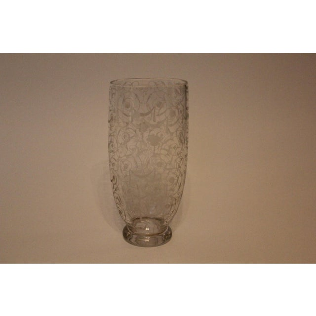 Mid 20th Century French Filigree-Etched Oval Glass Vase For Sale - Image 5 of 5