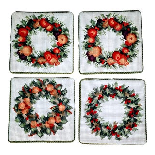 Vintage Needlepoint Christmas Wreath Coasters - Set 4 For Sale