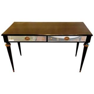 Hollywood Regency Jansen Ebony Vanity Desk Server with Mirror Front Drawers For Sale