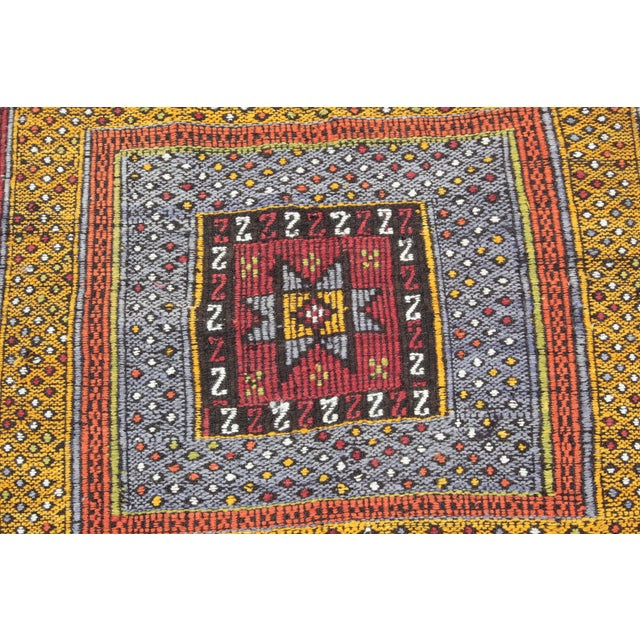 Tribal Vintage Vivid Color Cicim Kilim Rug - 3′4″ × 3′5″ For Sale - Image 10 of 13