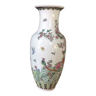 Vintage Hong Kong Handpainted Vase For Sale