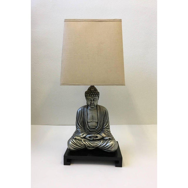 Silver and Black Lacquered Buddha Table Lamp For Sale In Palm Springs - Image 6 of 10