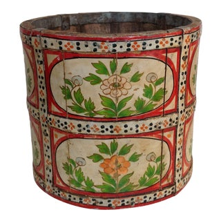 Hand-Painted Wood Pail/ Vessel For Sale