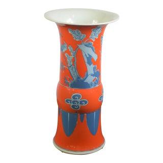 Asian Bungalow 5 Henley Ku Orange Ceramic Vase For Sale