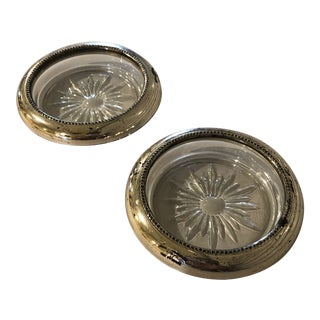 Mid 20th Century Frank Whiting & Co Sterling Crystal Coasters - a Pair For Sale