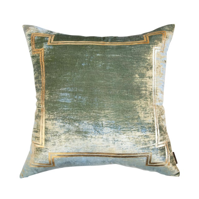 Aria Sea Foam Green Silk Velvet Pillow With Gold Foil Accents For Sale