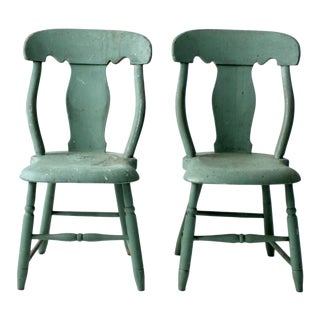 Antique Green Fiddle Back Chairs - Set of 2