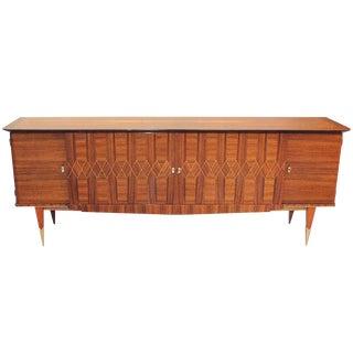 "Long French Art Deco Light Macassar Ebony ""Diamond Inlay''Sideboard / Buffet , circa 1940s"