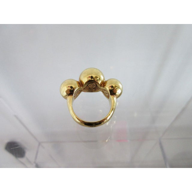 Modern Vintage 14k Gold Italian Ring With Three Round Balls For Sale - Image 3 of 6
