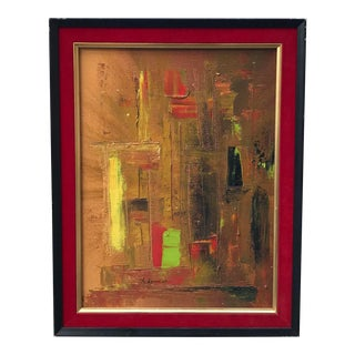 1969 Abstract Cityscape Oil Painting on Canvas by Maurice Agnan For Sale