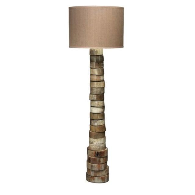 The Stacked Horn Floor Lamp is an artful arrangement of horn, assembled in an organic pillar shape of soft natural colors....