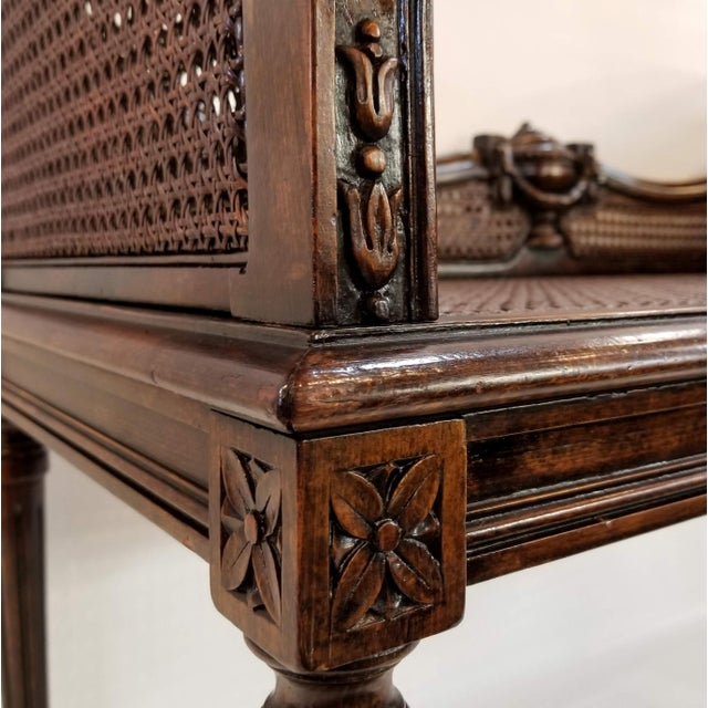 Burnt Umber Antique Carved and Caned Window Settee With Neoclassic Motifs For Sale - Image 8 of 10