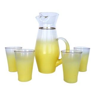 Blendo West Virgina Glass Cocktail Pitcher & Glasses - Set of 5 For Sale