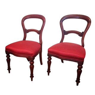 1900s Hollywood Regency Red Satin Fabric Mahogany Balloon Chairs - a Pair For Sale