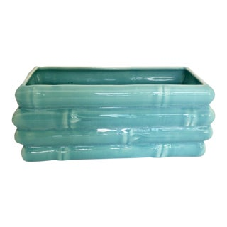 Mid Century Turquoise Bamboo Ceramic Planter For Sale