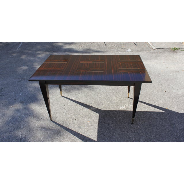 1940s Art Deco Exotic Macassar Ebony Writing Desk / Dining Table For Sale - Image 9 of 13