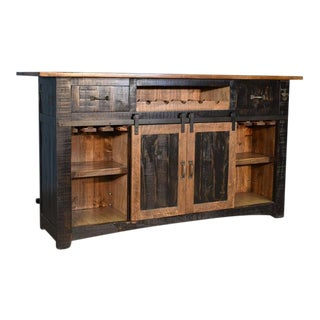 "Crafters and Weavers Greenview Bar Counter - Distressed Black - 76"" For Sale"