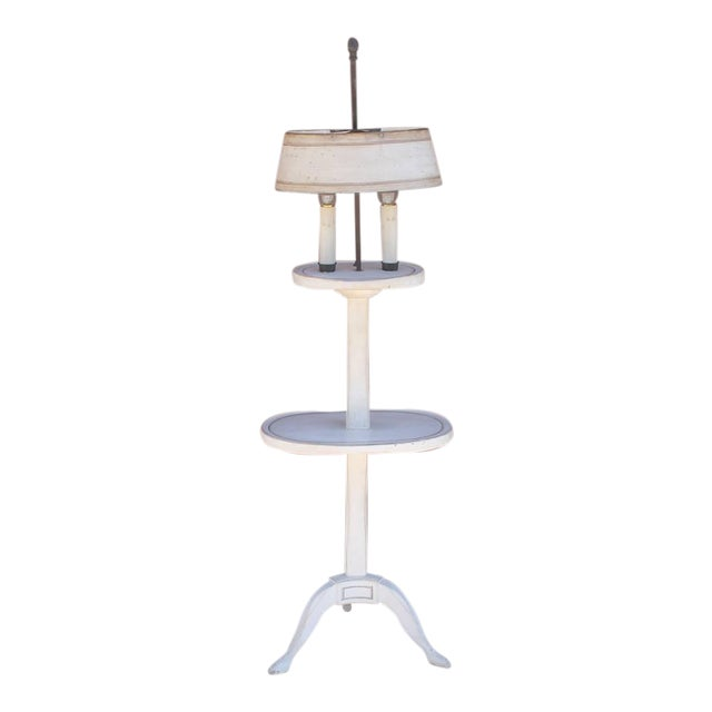 Amazing White Painted Floor Lamp with Tole Painted Tin Shade For Sale