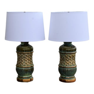 1960s Hollywood Regency Drip Glaze & Gold Ceramic Lamps - a Pair For Sale