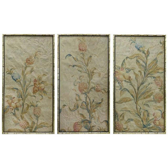 18th Century Floral Aubusson Panels, Set of Three For Sale - Image 11 of 11