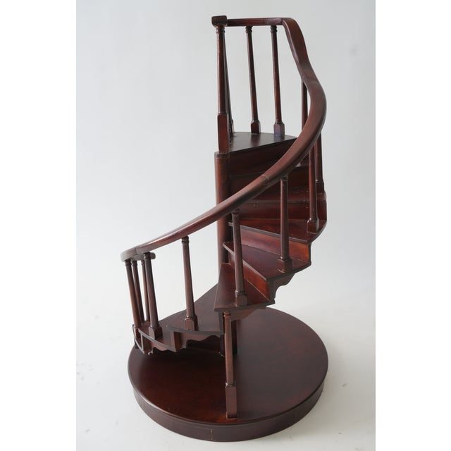 Brown Vintage Spiral Staircase Architectural Model in Mahogany For Sale - Image 8 of 9