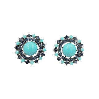 1950s Trifari Faux-Turquoise & Faux-Sapphire Rhinestone Earrings For Sale