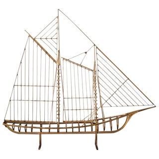 Vintage Brass Skeleton Sailboat Sculpture by Curtis Jere For Sale