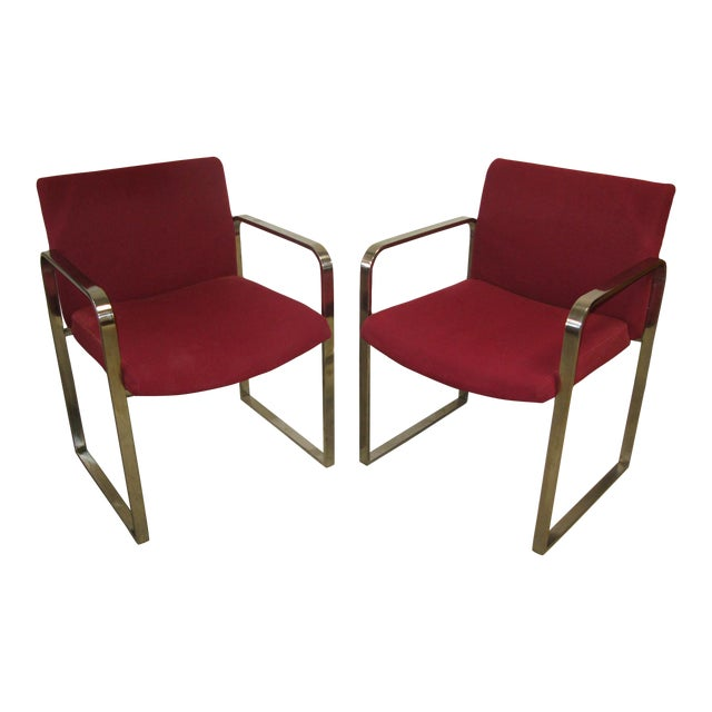 Mid Century Modern Chrome Flat Bar Side Chairs- A Pair For Sale