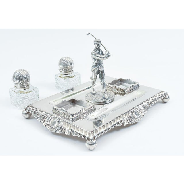 19th Century English Sheffield Silver Plated Golfer Footed Desk Inkwells With Stand For Sale - Image 5 of 10