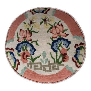 Vintage Chinoiserie Needlepoint Round Pillow For Sale