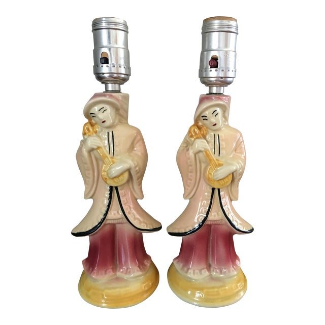 Mid-Century Asian Shawnee Pottery Lamps - Pair For Sale