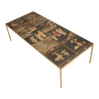 Vintage Chinoiseries Top Coffee Table With Leather Trim For Sale