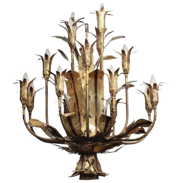 1960s Mid Century Brutalist Torched Brass 16 Arm Chandelier by Tom Greene For Sale