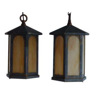 Arts & Crafts Electric Lanterns - A Pair For Sale