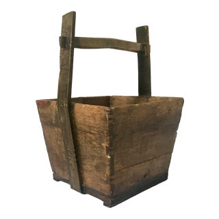 Antique Asian Rice Bucket For Sale