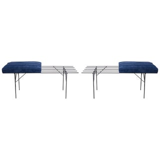 Pair of Iron and Suede Slat Benches For Sale