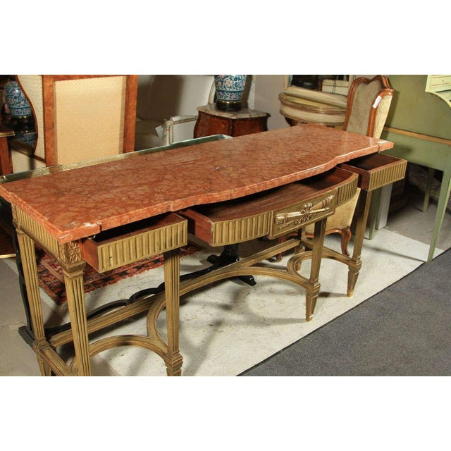Bronze Maison Jansen Coral Marble Top Console For Sale - Image 7 of 8