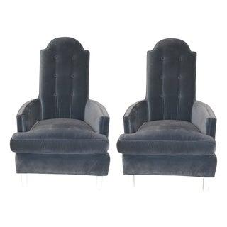 Blue Velvet Mid-Century Chairs - Pair For Sale