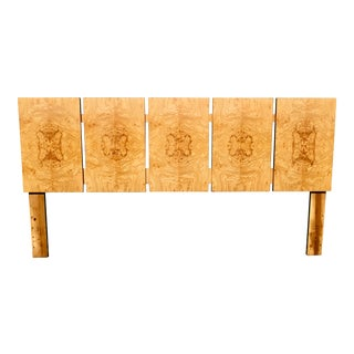 Magnificent Restored Butterfly Patterned Burl King-Size Headboard For Sale