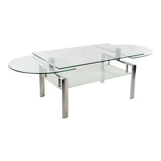Mid-Century Modern Chrome Steel & Glass Adjustable Coffee Table
