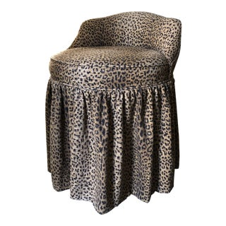 Skirted Leopard Vanity Stool For Sale