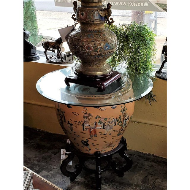 Large Chinese Fish Bowl Side Table With Stand For Sale In Dallas - Image 6 of 13