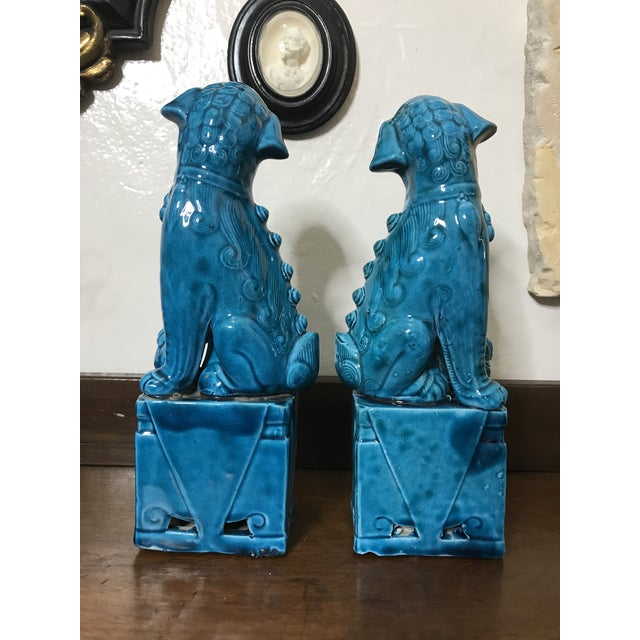"Vintage Chinese Porcelain Turquoise Foo Dogs 10"" - a Pair For Sale - Image 4 of 8"