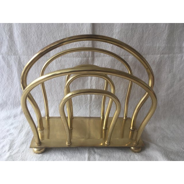 1980s Mid Century Solid Brass Magazine Rack For Sale - Image 9 of 9