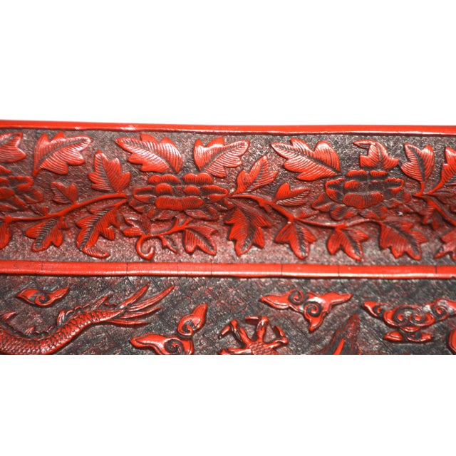 Asian 1970s Asian Red Lacquer Cinnabar Tray W/ Carved Dragons For Sale - Image 3 of 8